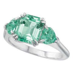 Minty Emerald Three-Stone Ring