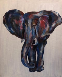 Colourful Elephant Abstract Painting Modern British Artist