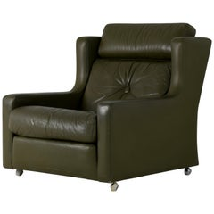 Mintys Oxford Olive Green Eather Armchair, 1960s