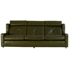 Mintys Oxford Olive Green Leather Sofa, 1960s