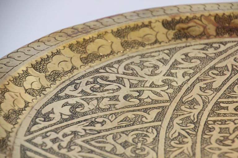 Moroccan Antique Round Brass Tray For Sale 6