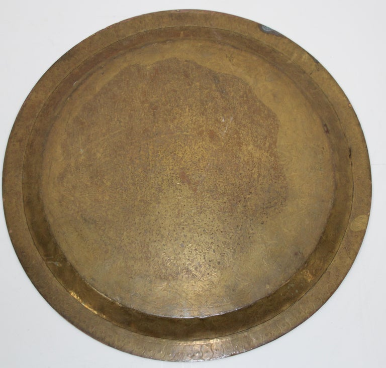 Moroccan Antique Round Brass Tray For Sale 8