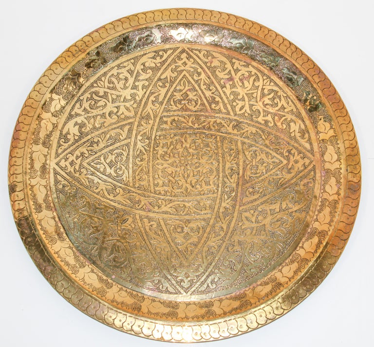 Moroccan antique round brass tray.