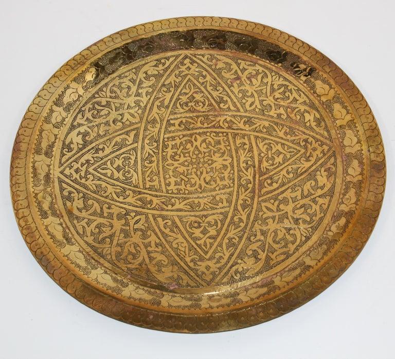 Moorish Moroccan Antique Round Brass Tray For Sale