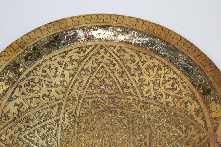 Syrian Moroccan Antique Round Brass Tray For Sale