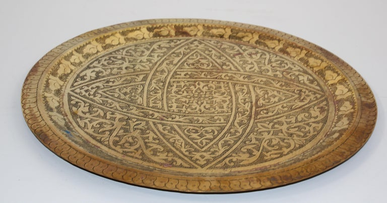 Moroccan Antique Round Brass Tray For Sale 1