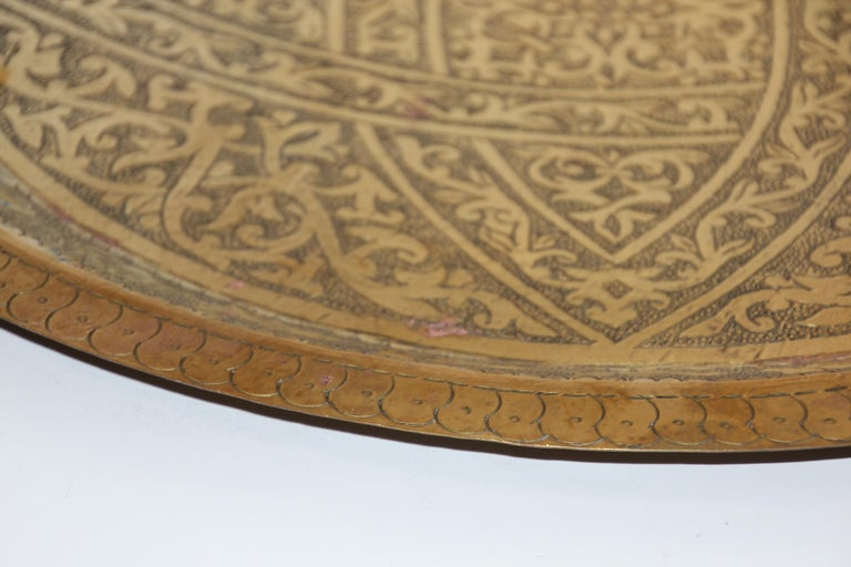 Moroccan Antique Round Brass Tray For Sale 2