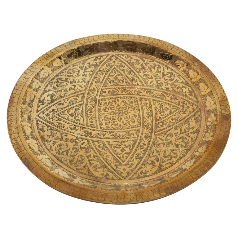 Moroccan Antique Round Brass Tray For Sale