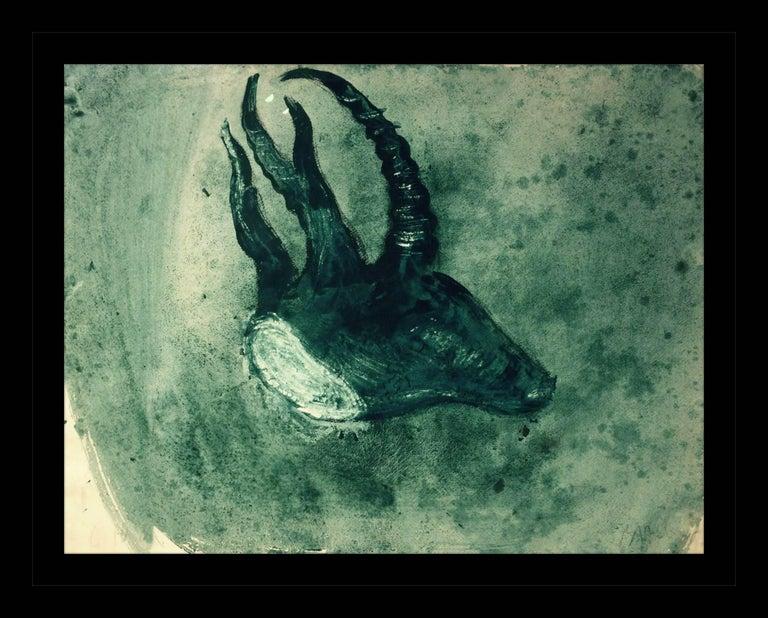 """Miquel Barceló Animal Painting -  """"Cabeza de cabra"""" 1988 original gouache neo-figuratif painting"""
