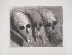 Vanity with Three Skulls - Original etching with aquatint