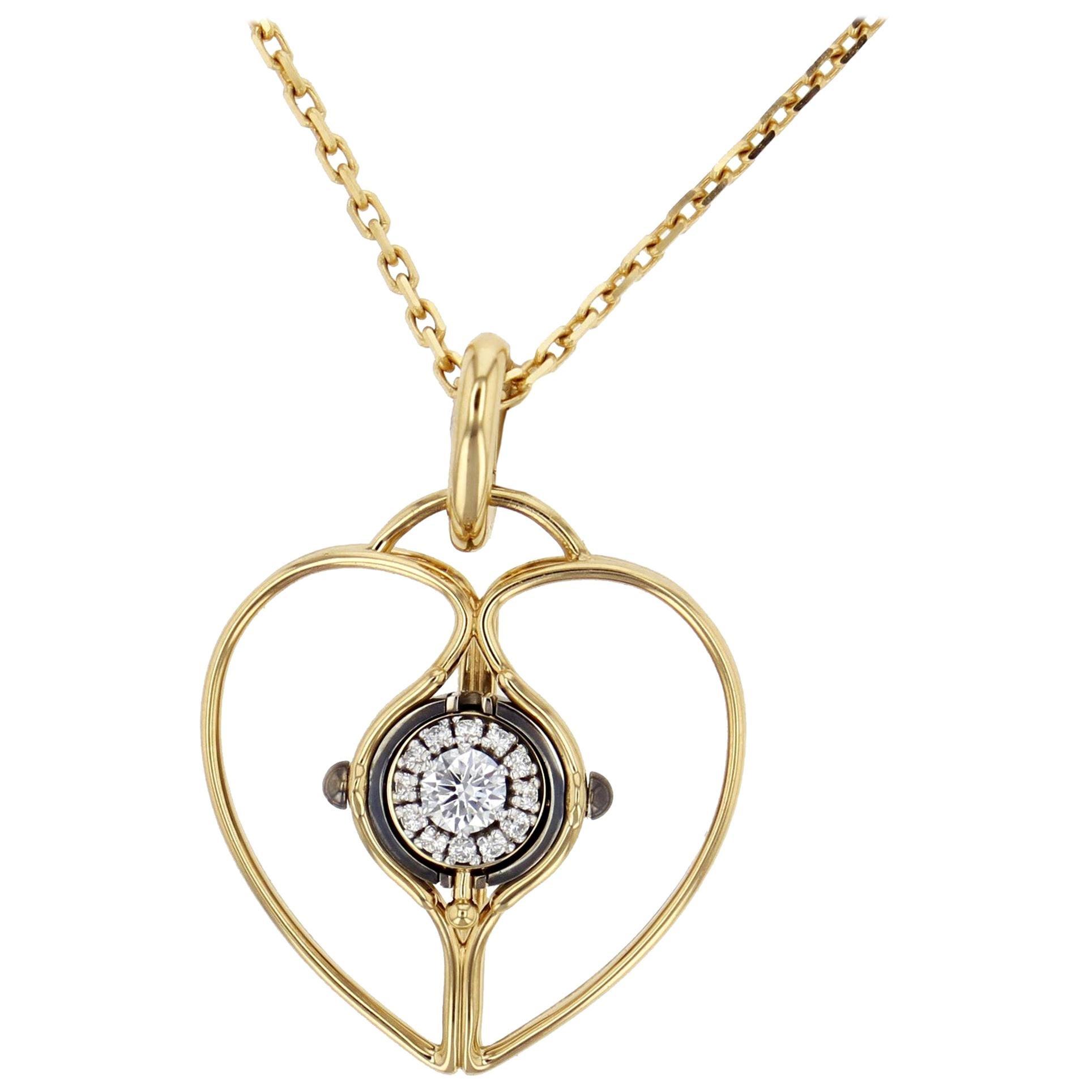 Mira Charm 18 Karat Yellow Gold and Diamond Heart by Elie Top