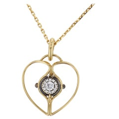 Mira Charm 18 Karat Yellow Gold and Diamond Heart by Elie Top