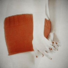 Orange Knit with Clasped Hands, figurative and feminine photography, Mira Loew