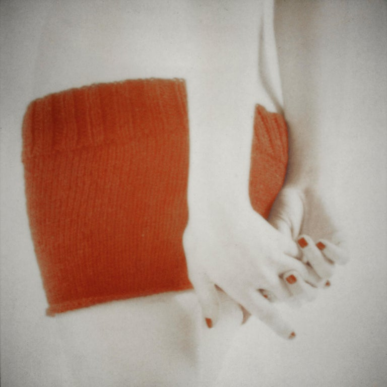Orange Knit with Clasped Hands, figurative and feminine photography, Mira Loew - Photograph by Mira Loew