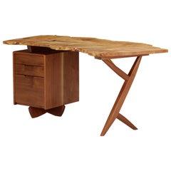 Mira Nakashima Conoid Desk in Indian Laurel, American Walnut & Myrtle Burl, 2009