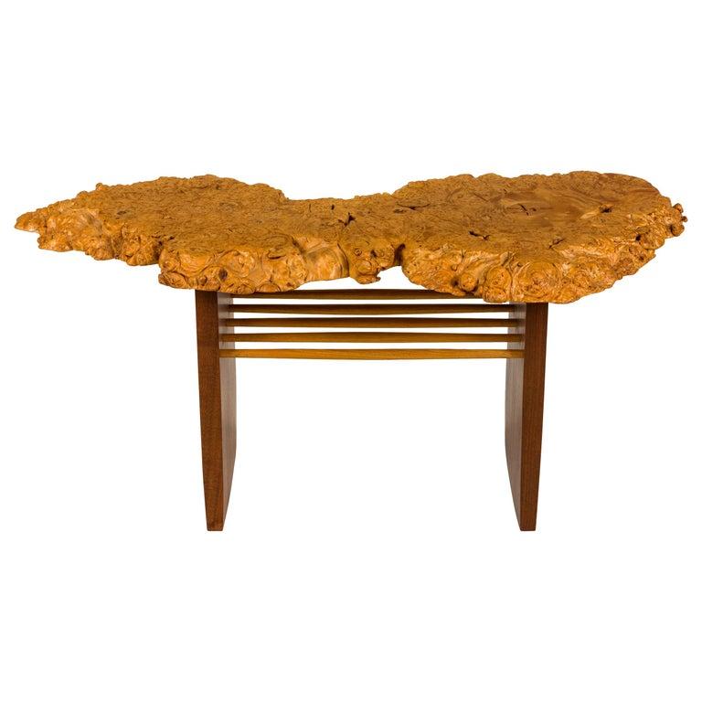 """Mira Nakashima Maple Burl, Black Walnut & Hickory """"Portsmouth"""" Side Table, 2004 For Sale"""