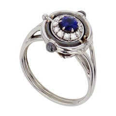 Mira White Gold, Diamond and Blue Sapphire Ring by Elie Top
