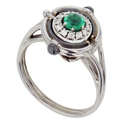 Mira White Gold, Diamond and Emerald Ring by Elie Top