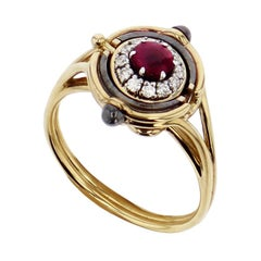 Mira Yellow Gold, Diamond and Ruby Ring by Elie Top
