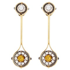 Mira Yellow Gold Yellow Sapphire Diamond Pendant Drop Earrings by Elie Top