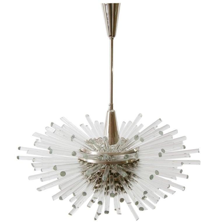 Austrian Bakalowits Sputnik Chandelier 'Miracle', Nickel Glass Rods, 1970 For Sale