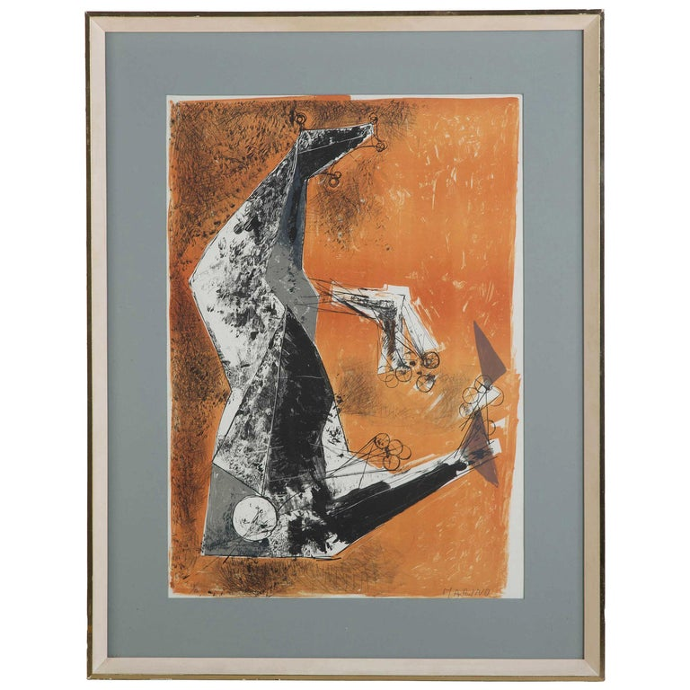 """""""Miracolo"""" by Marino Marini Lithograph in Colours For Sale"""