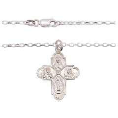 Miraculous Cross Necklace Sterling Silver Four Way Pendant Cross, Religious