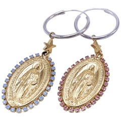 Medal Virgin Mary Earrings Rhinestone Pink Light Blue J Dauphin