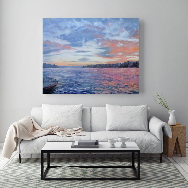'Beautiful Day, Lake Geneva', Large Contemporary Transitional Landscape Painting For Sale 1