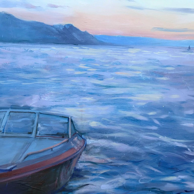 'Beautiful Day, Lake Geneva', Large Contemporary Transitional Landscape Painting For Sale 2