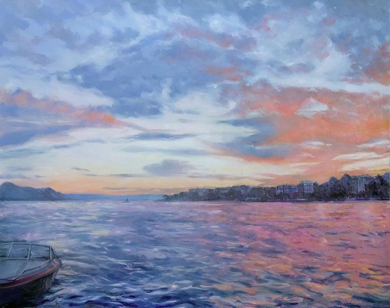 Switzerland, Sunset, Colorful, Pink, Coral, Blue, Water, Impressionist, Impressionism, Realist, Sunrise, Orange, Ocean, Sea, Lake, Lake Geneva, Renoir, Gustave Courbet, Boat  ABOUT MIRANDA GIRARD BIOGRAPHY Miranda Girard's paintings and drawings are