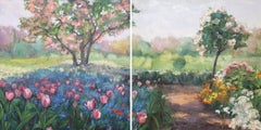 'Sunday Afternoon (Diptych)', Impressionistic Monet-Inspired Oil Painting