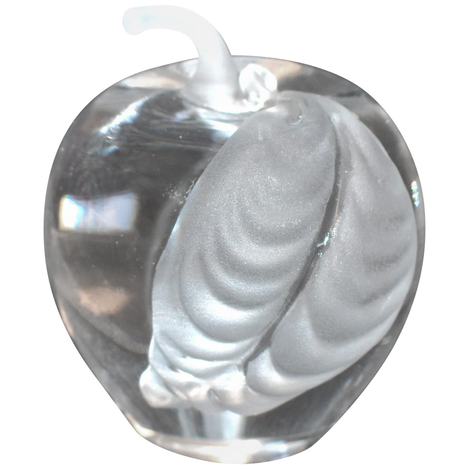 Mireau Art Glass Apple Frosted Leaf Paperweight Signed