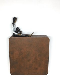 Enjoying your last novel- bronze mural contemporary small figurative sculpture