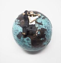 """""""Fade into You Blue""""  contemporary small figurative bronze table sculpture love"""