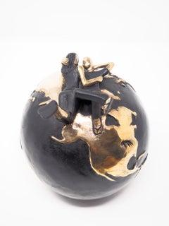 """""""Fade into You Gold""""  contemporary small figurative bronze table sculpture love"""