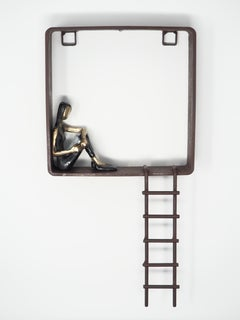 Good books good friends - bronze mural contemporary small figurative sculpture