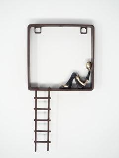 Great escape - bronze mural contemporary small figurative sculpture