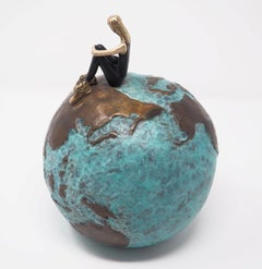 """Inner World"" contemporary small figurative bronze table sculpture girl freedom"