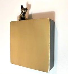 """Mr Charmant"" contemporary figurative bronze brass wall sculpture dog friendship"