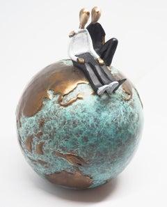 """One World One Love""  contemporary small figurative bronze table sculpture love"