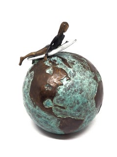 """""""Ride That Wave"""" contemporary small figurative bronze sculpture girl surfing"""