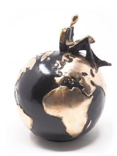 """""""Unknown Land Gold"""" contemporary small figurative bronze sculpture adventure"""
