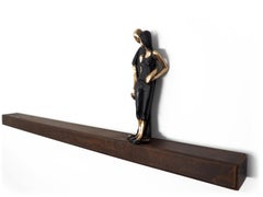 You are the one I want - bronze mural contemporary small loving couple sculpture