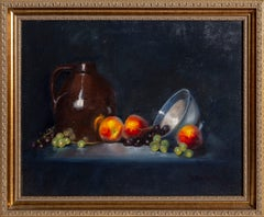 Peaches and Grapes Still Life Painting
