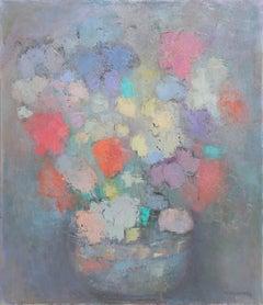 Multicolor Flowers III, Impressionist Painting by Miriam Bromberg