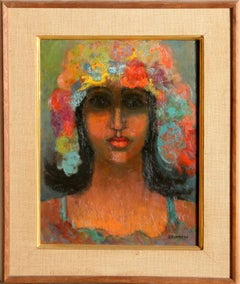 Self-Portrait with Flower Hat, Oil Painting by Miriam Bromberg