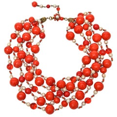 Miriam Haskell 5 Strand Faux Pearl & Orange Red Glass Necklace