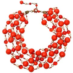 Miriam Haskell 5 Strand Faux Pearl & Orange Red Glass Necklace Vintage