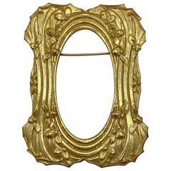 Miriam Haskell Art Nouveau Gold Picture Frame Brooch